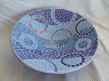 "Warm Blues Mosaic ""Bowl of Rain"" Fruit Bowl"