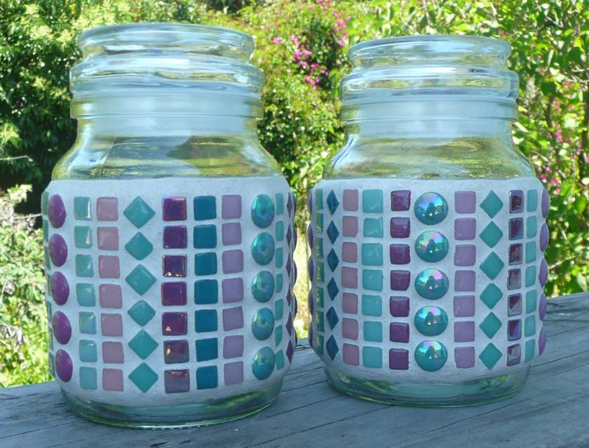 Mosaic Storage Container, Airtight Lid Purple Teal  Set of 2