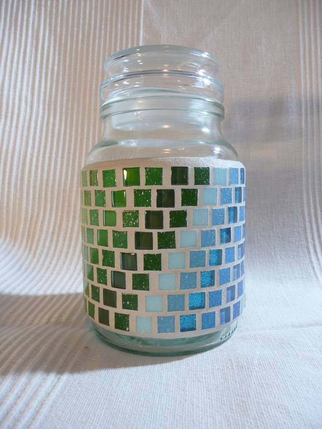 Medium Mosaic Storage Container with Airtight lid -  Green Blue Pattern