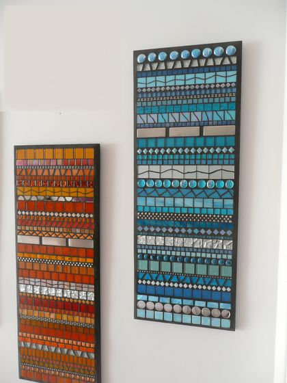 """INDISTINCT CHATTER No. 6"" Modern Contemporary MOSAIC Wall Art  - Abstract in Aqua and Silver"