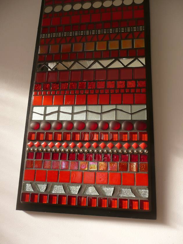 "SALE!!  ""INDISTINCT CHATTER No. 1"" Modern Contemporary MOSAIC Wall Art - Abstract in Red and Silver"