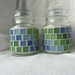 Mosaic Storage Container, Airtight Lid Green Blues Set of 2