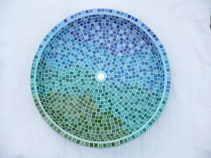 Big Mosaic Bird Bath in Blue, Aqua, Green and Teal shades MADE TO ORDER