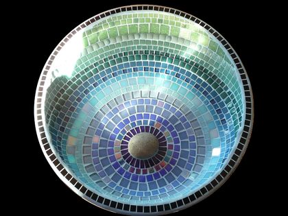 Big Mosaic Bird Bath - Raindrop Pattern in Blues, Teal and Green Made to Order