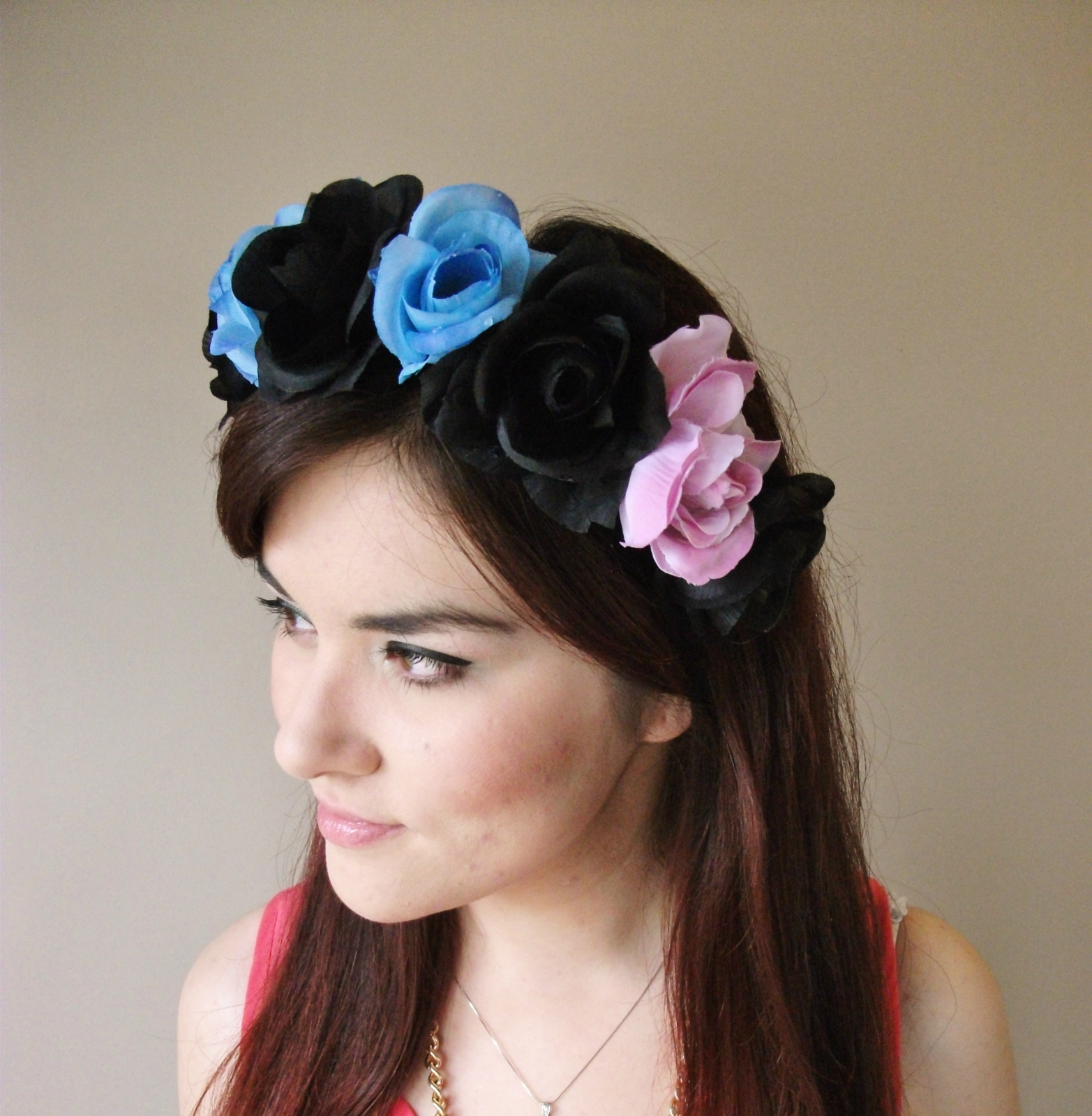 Alice in Wonderland floral headband flower crown floral crown floral wre
