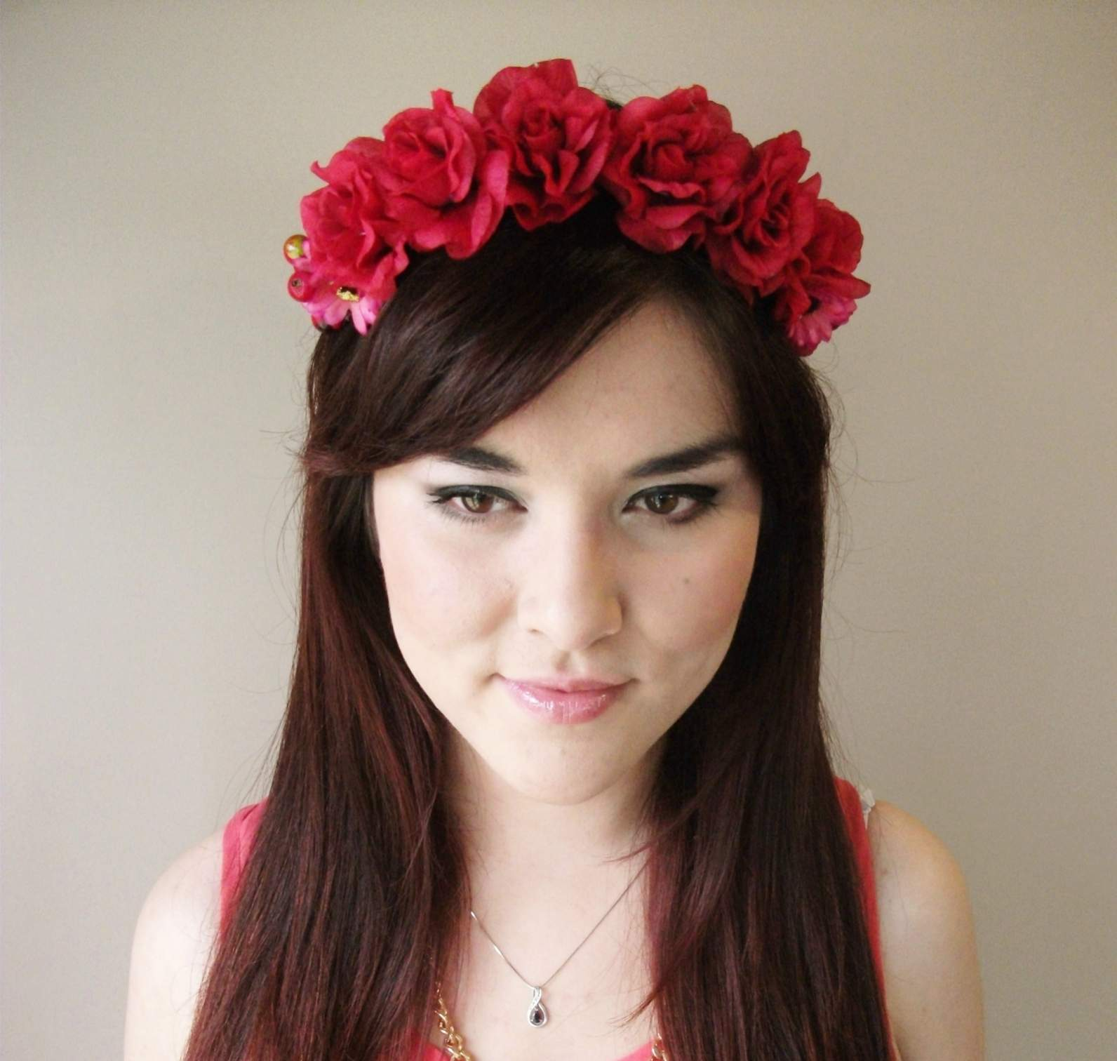 Roses Are Red Floral Headband Floral Crown Flower Crown Floral