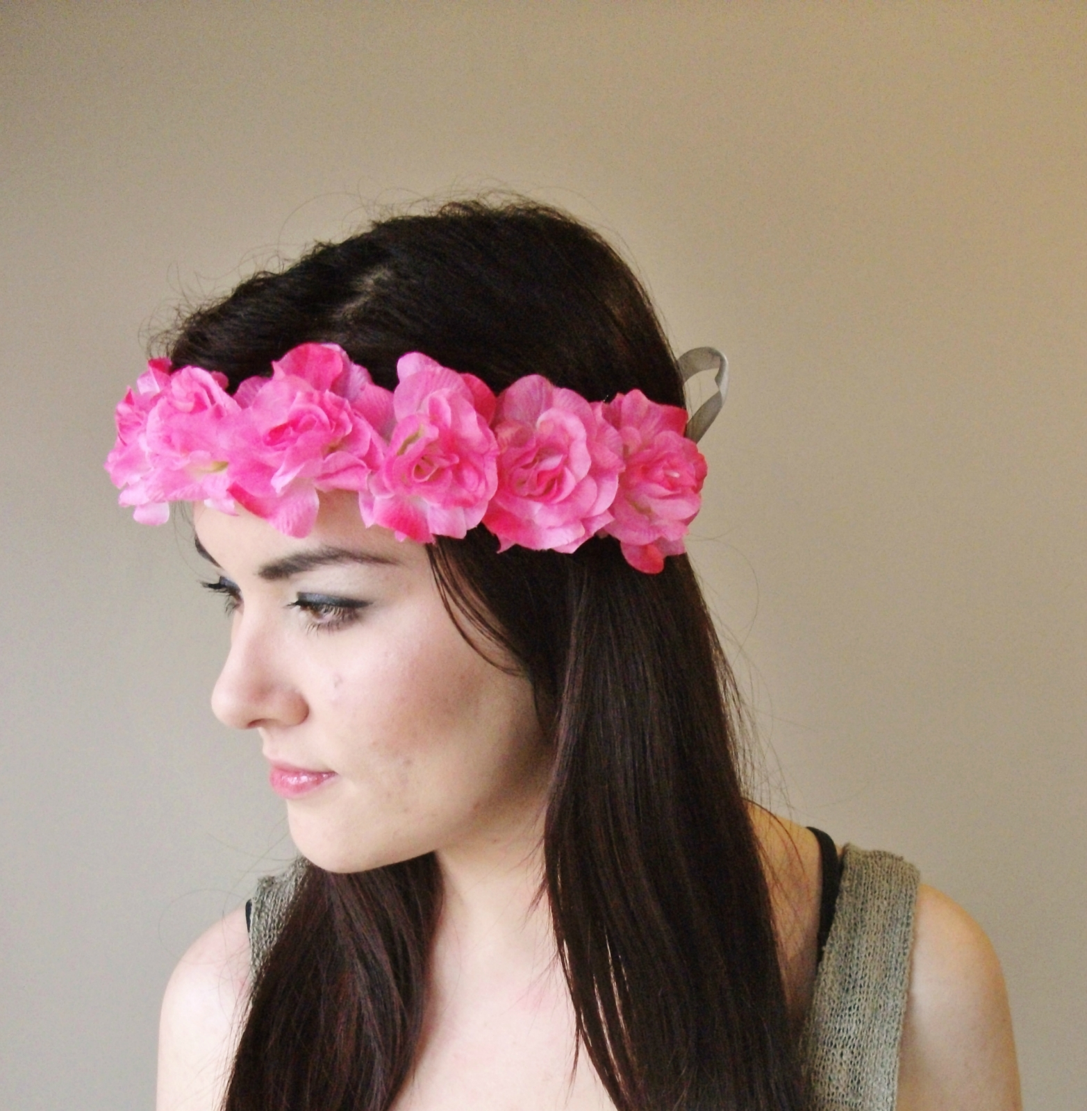 Pink Roses Crown Floral Wreath Flower Crown Floral Crown Floral