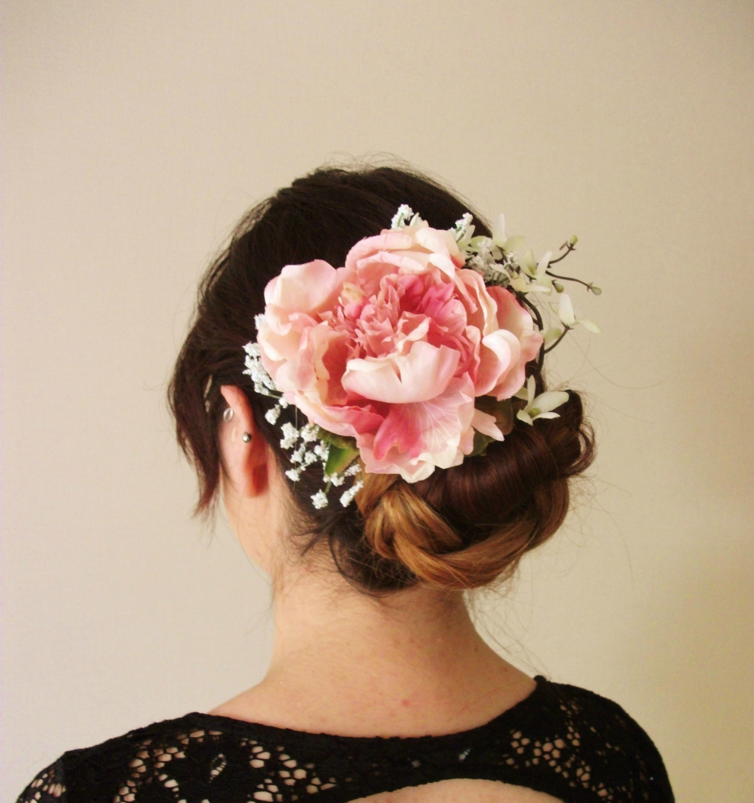 Peony Lilac And Baby Breath Floral Hair Clip Pink Bobby Pins Pin