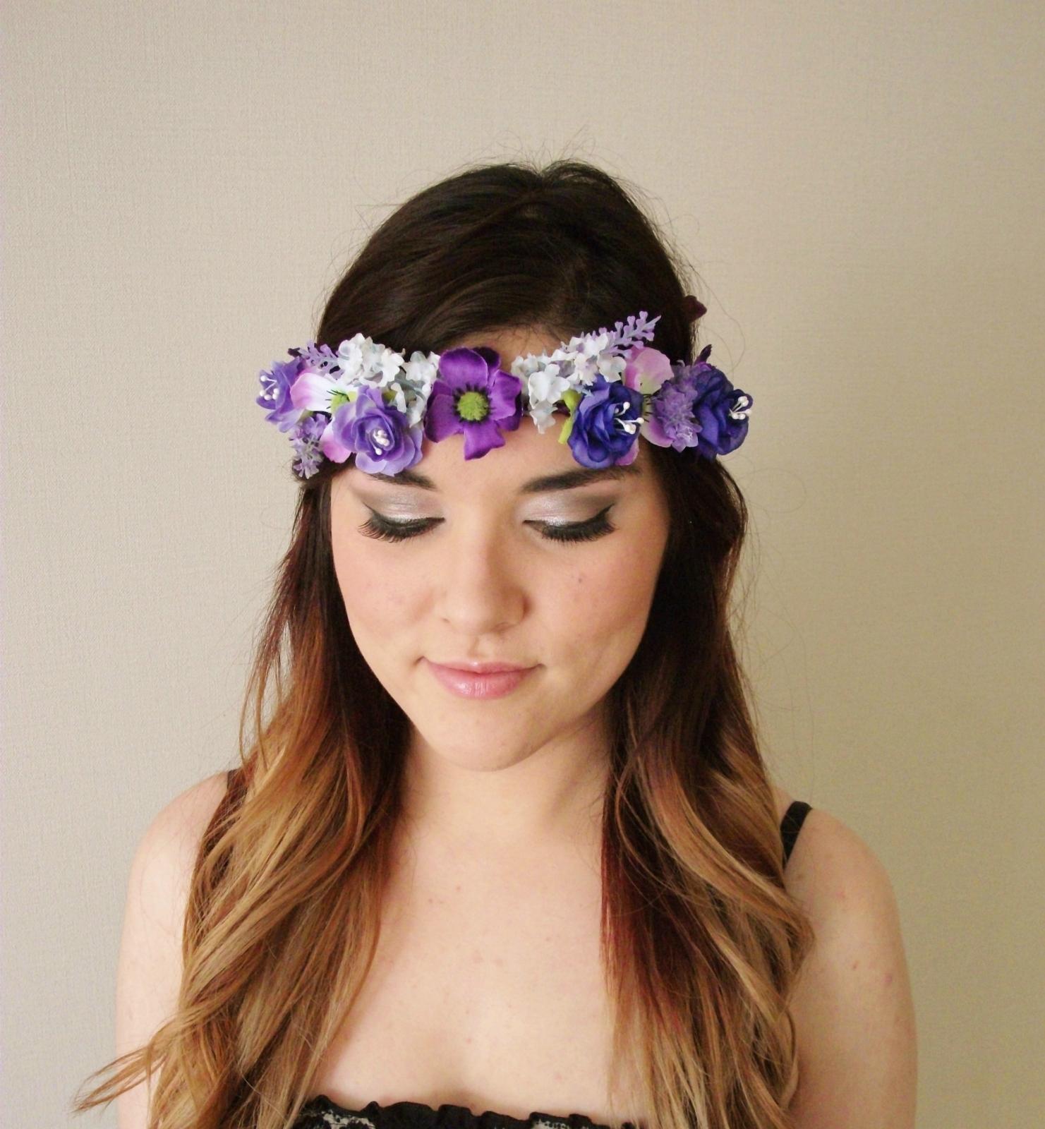 Purple Assorted Bun Tie Flower Crown Bun Tie Bun Wreath Floral