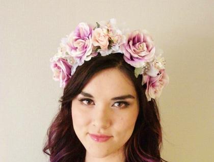 Woodland Roses - floral headband, floral crown, flower crown, floral wreath, fascinator, festival crown, Bridal, Wedding hair piece | Felt