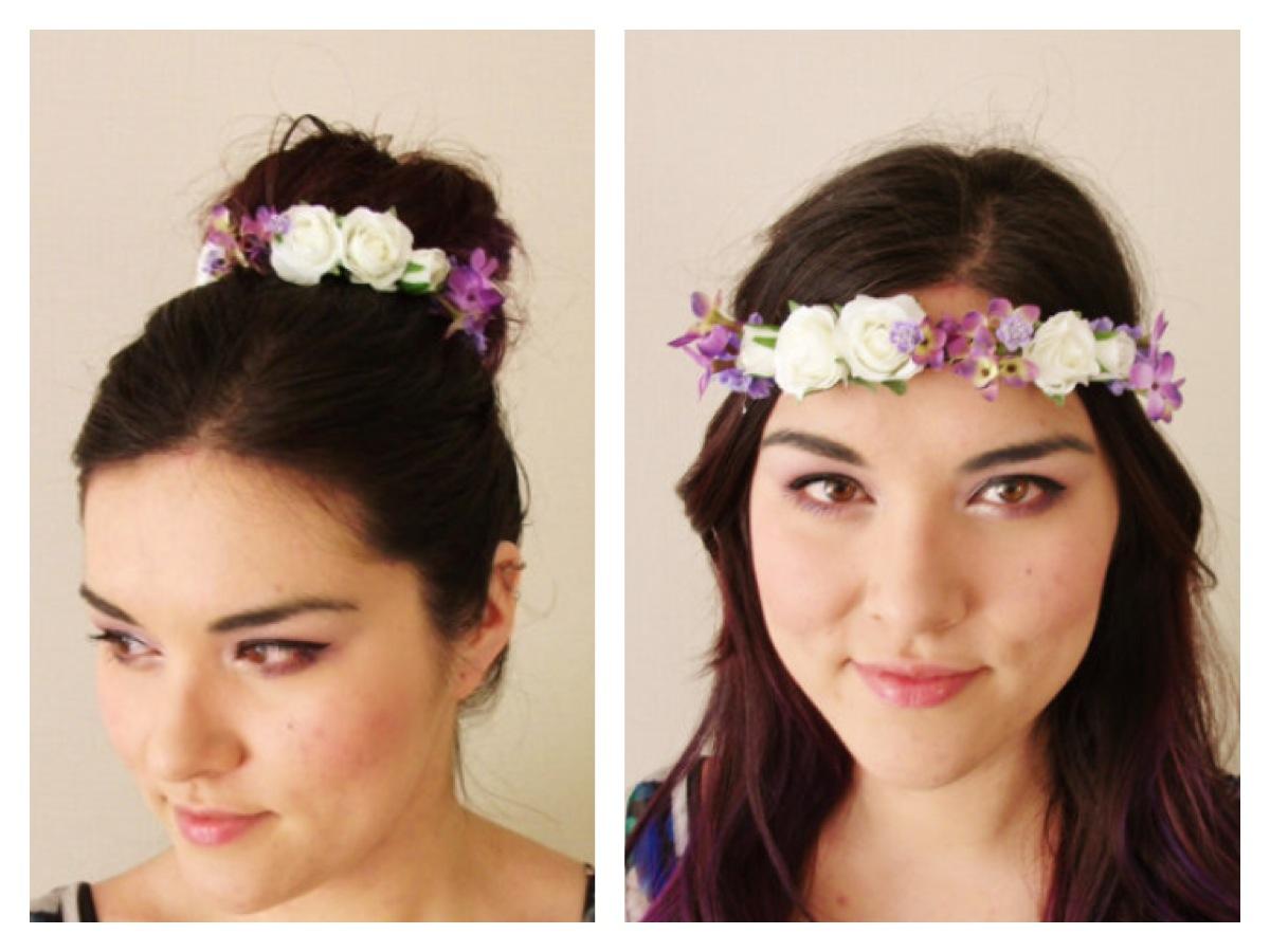 White Rose Purple Lavender Lilac Bun Tie Flower Crown Bun Tie Bun