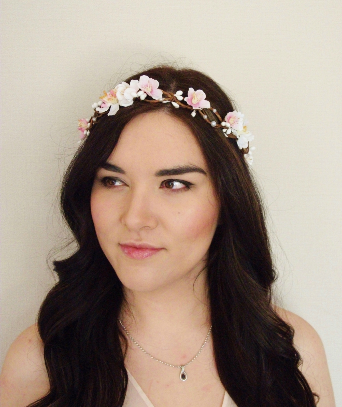 White Pink Blossom Woodland Pip Berry Vine Flower Crown Floral