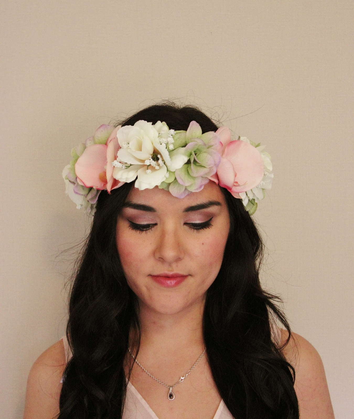 Pink Orchid Green Hydrangea White Rose Floral Crown - Floral ...