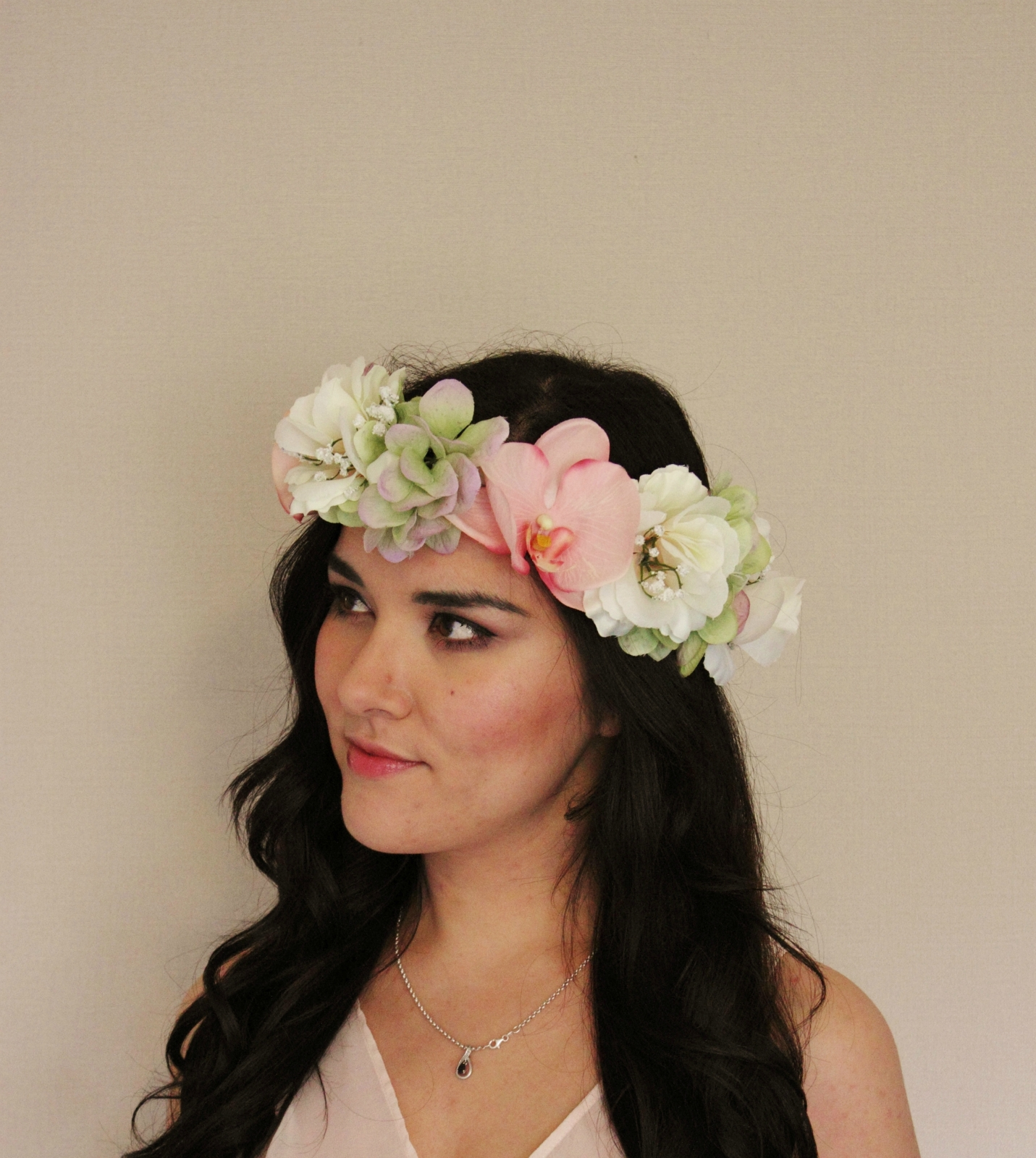 Pink Orchid Green Hydrangea White Rose Floral Crown Floral