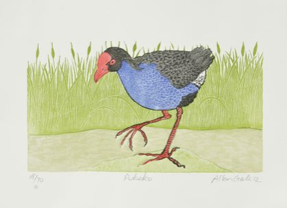 wood block print of pukeko by Allan Gale