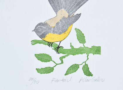 wood block print of a fantail by Allan Gale