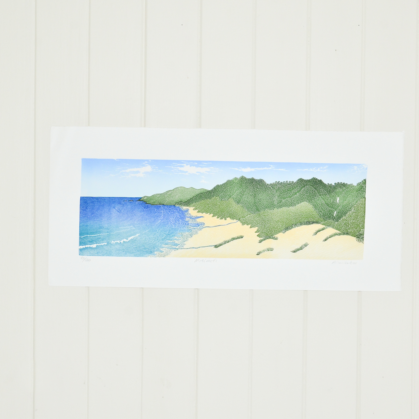 wood block print of miti miti beach by Allan Gale