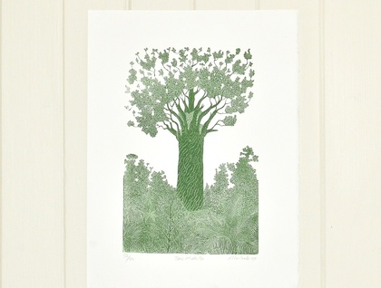 wood block print of Tane Mahuta by Allan Gale