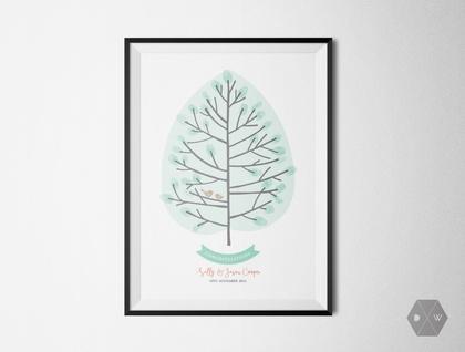 Custom Celebration Fingerprint Tree - A3 Print - Spring Colours