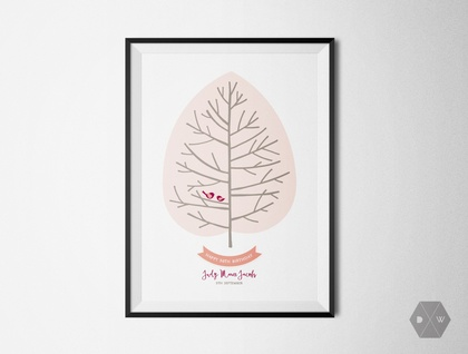 Custom Celebration Fingerprint Tree - A3 Print - Summer Colours