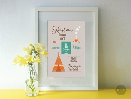 Baby Birth Details Print - Woodlands Owls - A4