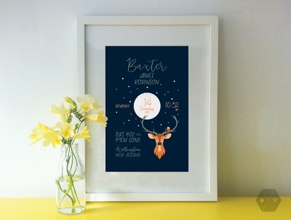 Baby Birth Details - Deer Print - A4