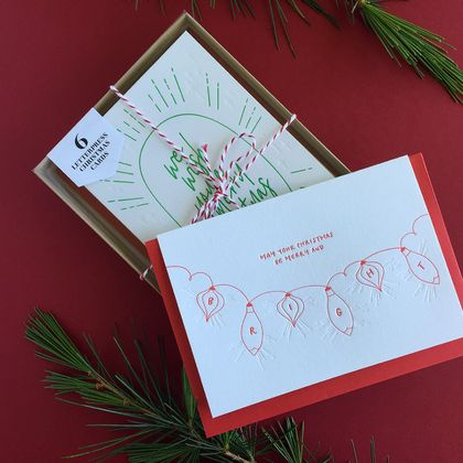 Letterpress Christmas Cards - 6 Pack