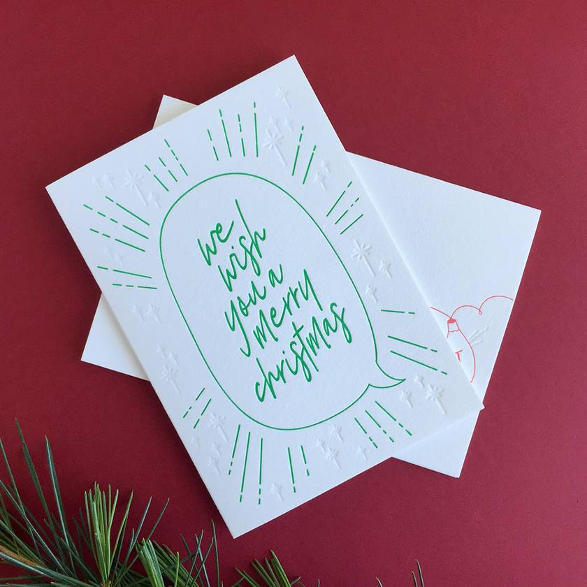 Letterpress Christmas Cards - 6 Pack