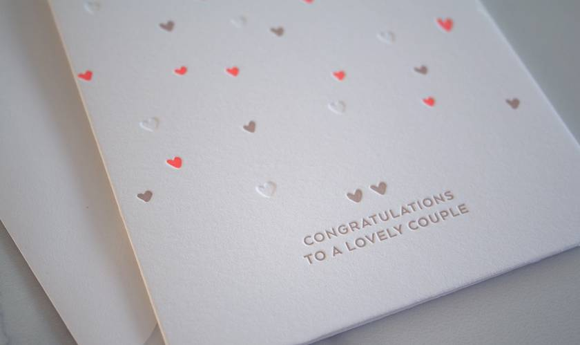 Letterpress greeting card - Congratulations to a lovely couple