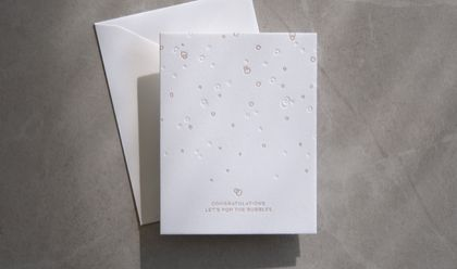 Letterpress greeting card - Congratulations lets pop the bubbles
