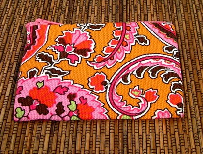 Orange and Pink Paisley Coin Purse