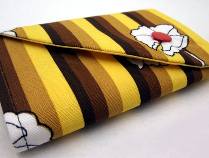 Wallet - Yellow and brown stripe with floral