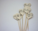 Set of 6 Cupcake toppers - vintage hearts in music style