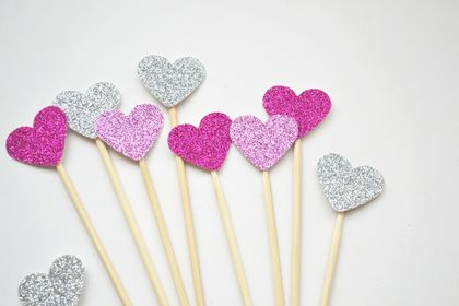 Set of 12 Silver, hot pink and light pink glitter heart cupcake or cake toppers