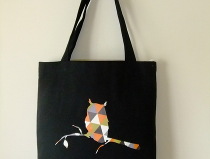 Geometric owl tote