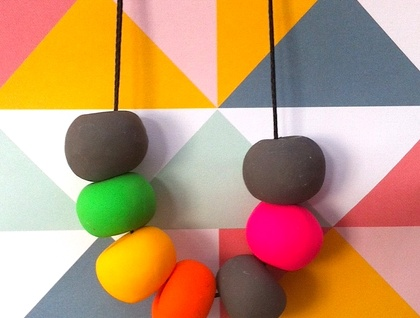 Juicy clay beads - handmade in funky colours