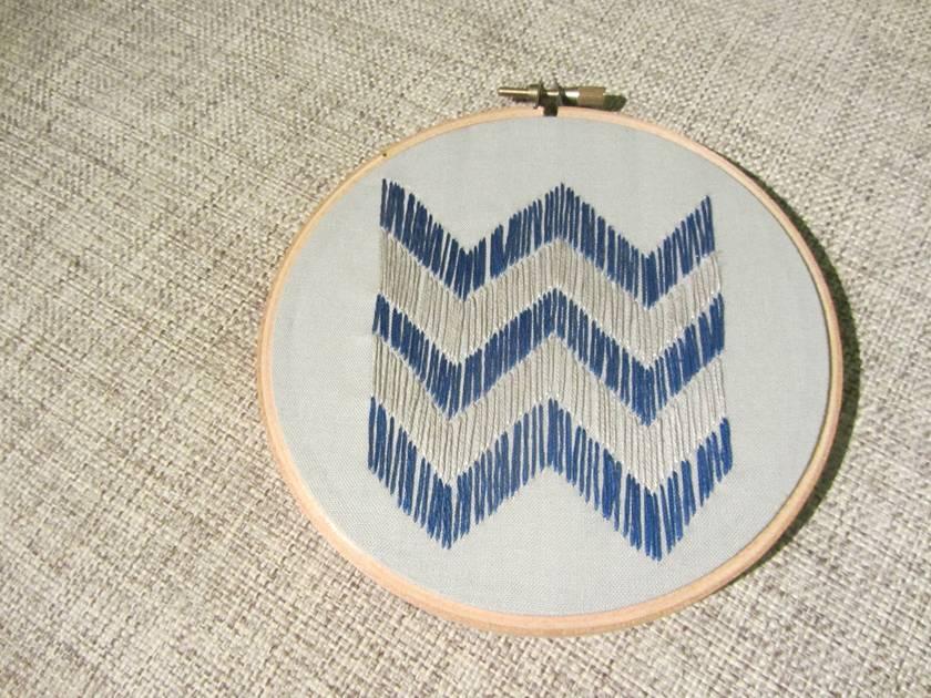 Hand Embroidered Chevron Hoop Art