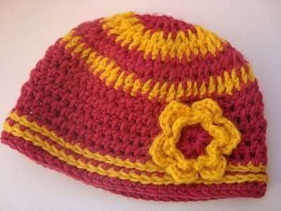 Pink & Yellow Crochet Beanie