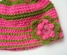 Crochet Beanie - Pink & Green