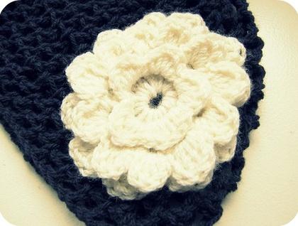 Purple Crochet Beanie with Flower