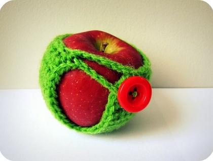 Green Crochet Apple Cozy