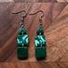 Green Marble clay earrings