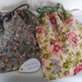 Reusable Cotton Gift Bags in Green or Yellow Floral print