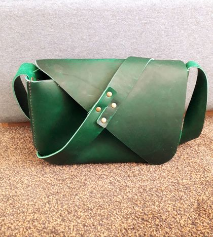 New Zealand Hand Stiched Green Leather Tote