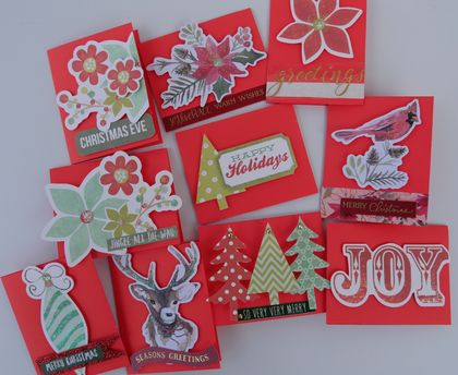 10 Small Red Christmas Cards
