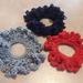 Scrunchies - Set of 3 Crocheted Red, Dark Blue, Grey.