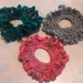 Scrunchies - Set of 3 Crocheted Green/Grey, Green, Red