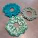 Scrunchies - Set of 3 Crocheted Turquoise, Green and Variegated Green