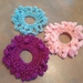 Scrunchies - Set of 3 Crocheted Pink, Violet and Blue