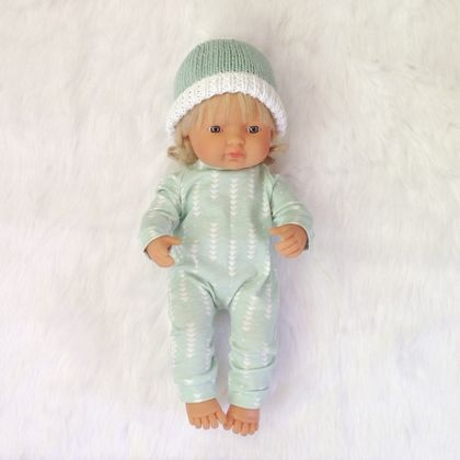 Miniland Doll clothing Knit Fabric Romper and Bonnet